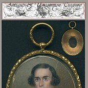 SALE Fine 19th Century Portrait Miniature in Locket Frame with Hair Art Backing