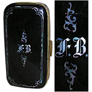 SALE Fab Antique Victorian Papier Mache Cigar Case, MOP Inlay & Monogram
