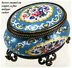 Antique French Sevres Enamel Jewelry Box, Casket, Ormolu - Gilt Bronze Frame, Acanthus Cabriole Legs