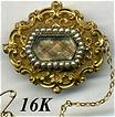 Victorian 16K Gold & Seed Pearl Mourning Brooch, Hair Art - Blond and with dedication engraved on back