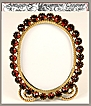 Antique French Jeweled Frame, Faux Garnets and Ormolu Miniature - c. 1830-50 Easel back stand