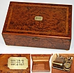 Antique French Burl & Marquetry Inlay Jewelry Box, Music Box