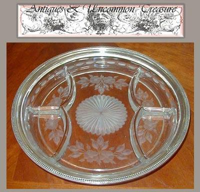 Fine 1940s Sterling & Glass Condiment Serving Dish