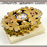 SALE RARE Antique French Palais Royal Sewing Etui, Porcelain Plaque and Jewels: Pearl & Coral