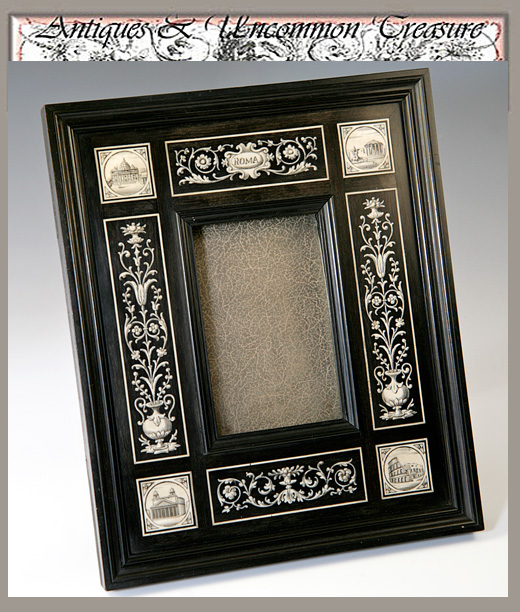 Superb Antique GRAND TOUR Italy Ebony & Ivory Frame - Carte de Visite, Scrimshaw-like Ivory