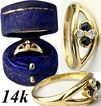 Vintage 14k Gold, Blue/White Sapphire Ring, Antique Box