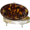 LG Antique English Sterling Silver & Shell Casket - Tortoiseshell