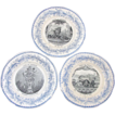 Antique Creil Faience 3pc Plate Set, Theatre Des Marionnettes