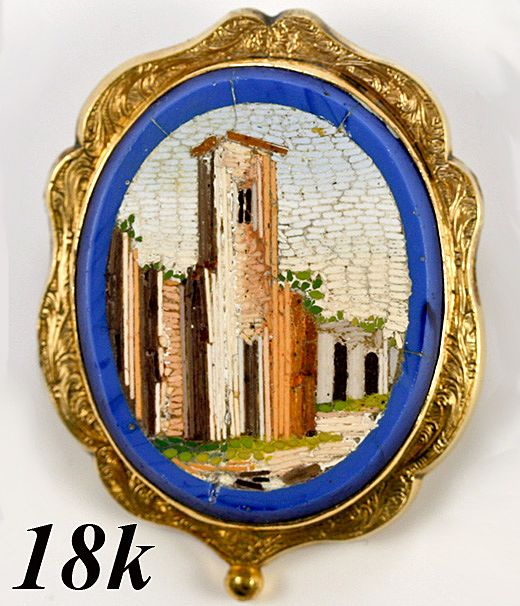 Antique Georgian to Victorian Micromosaic, 18k Gold Brooch - Micromosaic in blue basin, unusual scene