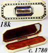 Antique Georgian 18k and Enamel 'Souvenir' Etui, 'Boite a' Mouche', Patch Box or Toothpick Box,