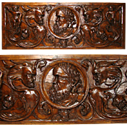 "SALE 1650-1800 Renaissance Revival Carved 31"" Architectural Plaque, Grotesques & Putti"