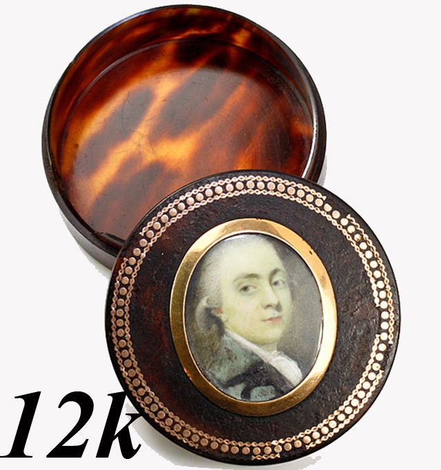 Antique Georgian Portrait Minitaure, 1780-1830 Faux Tortoise Shell Snuff Box, 12K Gold Pique & Frame- Tortoiseshell