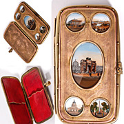 Fine Antique Mid-1800s Paris Grand Tour Souvenir Cigar Case, 5 Monument Views