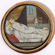 Antique Portrait Miniature in Dore Bronze Frame - French apres TITIAN's Venus of Urbino (1538)