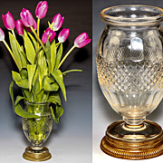 Fine Antique French Vase, Empire Dore Bronze Base, Baccarat Crystal