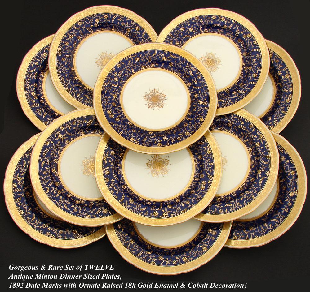 RARE 12pc Antique 1892 MINTON Dinner Plate Set Raised 18k Gold Enamel On Cob