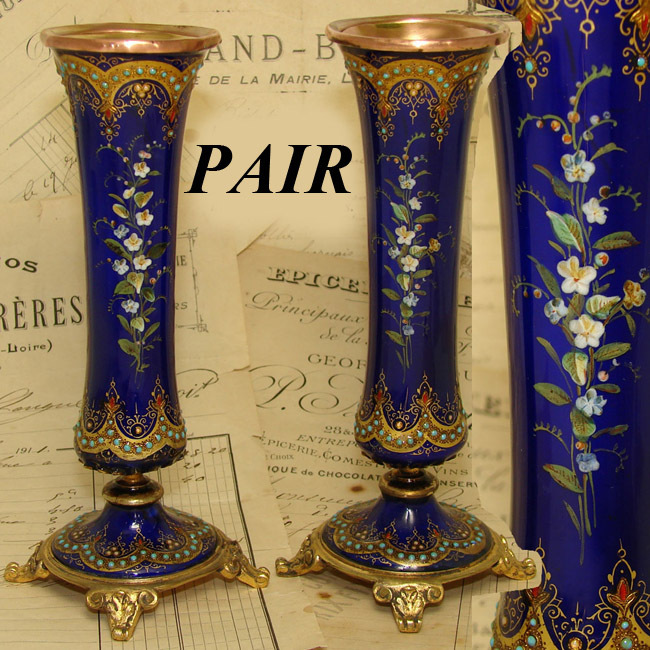 "Gorgeous Antique French Sevres Enamel & Ormolu 6"" Posy Vase PAIR, HP Flowers & 'Jewels'"