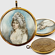 Antique Georgian Portrait Miniature Locket Frame with Hair Plaiting