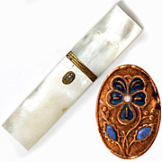 Antique French Palais Royal Mother of Pearl Needle Case, Etui, 18k Gold Trim and Cartouche ...
