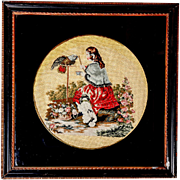 Antique English Victorian Needlepoint of Queen Victoria & Pets, Petitpoint, Lacquer Mat, Wood