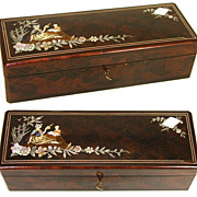 "Antique French Marquetry Inlaid 13"" Glove or Jewelry Box, Casket with Figural Inlays"