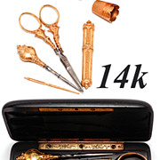 Set: Antique 14k Solid Gold Sewing or Embroidery Tools: Scissors, Needle Case, Bodkin, ETC, In