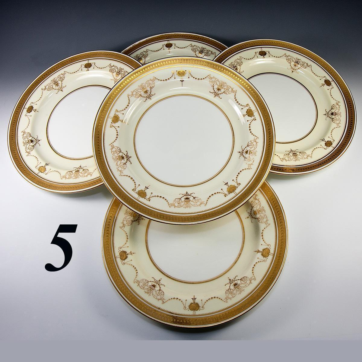 Antique Minton Dinner Plate Set 5pc Raised Encrusted Gold