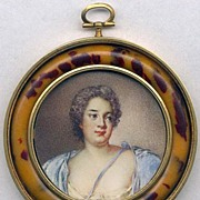 SALE RARE 19th Century Faux Tortiose Shell Frame, Fine Portrait Miniature - Nattier!