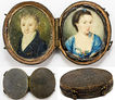 Antique Georgian Portrait Miniature Pair, Shagreen Etui - 1700s Man and Woman
