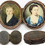 SALE Antique Georgian Portrait Miniature Pair, Shagreen Etui - 1700s Man and Woman