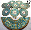 Set: 12 Antique French Limoges Plates, Encrusted and Raised Gold, Celeste Blue