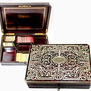 SALE Superb Antique French Game Box, Faux Tortoise Shell Boulle, Complete with Chips