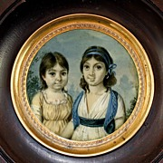 SALE Antique French HP Portrait Miniature, 2 Young Girls, Napoleon Era c.1797