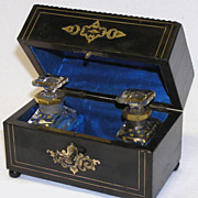 SALE Antique French Napoleon III Double Scent Caddy, Baccarat