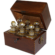 SALE Antique Regency Perfume Casket, SIX Gilt Baccarat Bottles