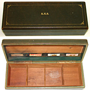 SALE Fab Antique - Vintage Gilt Embossed Leather Humidor, Fitted