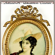 SALE Antique Hand Painted Miniature Portrait , French Bronze Frame