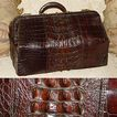 "Antique Victorian 20"" Alligator Satchel, Raised Hornback Scales"