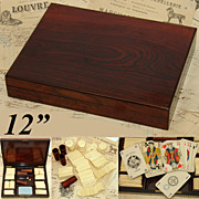 SALE Antique Napoleon III Rosewood Game Box, Full of Original Chips!