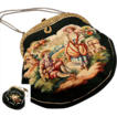 Antique French Aubusson Hand Bag, Purse, Romantic