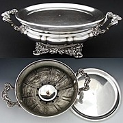 "SALE Antique French SP Chaffing Dish, Ornate 3pc 14"" Buffet Warmer"