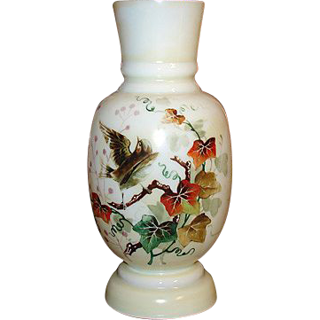 "Antique Victorian Era Opaline 11"" Vase, Painted Bird & Foliage"