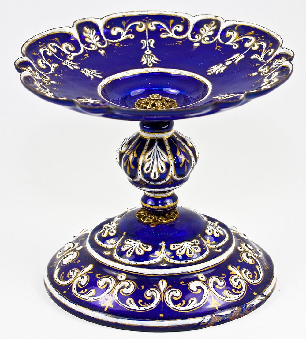 Elegant Antique Kiln-fired Enamel Tray, Tazza or Small Compote, Cobalt Blue