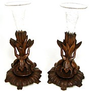 RARE Antique Black Forest Carved 10.5&quot; Epergne Stand PAIR, Frogs & Lily Pads !