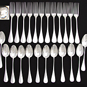Antique French Sterling Silver 24pc Entremet, Luncheon or Dessert Sized Flatware Set, 2pc Serv