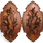 "RARE Antique Black Forest Carved 32.5"" Hunt Themed Wall Plaque PAIR, Game Birds & Deer or"