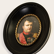 Antique French Portrait Miniature in Frame, Emperor Napoleon Bonaparte, Excellent!