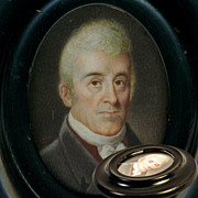 Antique Napoleon Era Portrait Miniature in Frame, Lieutenant Governor of New York (1795-1801),
