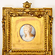 Antique English HP Portrait Miniature, 1700s Lady in White, Fabulous Wood & Gesso Gilded Frame
