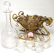 Antique French Gilt Ormolu Sleigh Shaped Liqueur Tantalus, Decanter & 4 Cordials